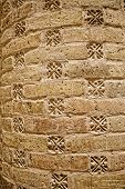 Detail of the brick column in old chamber of the mosque in Isfahan Iran. poster