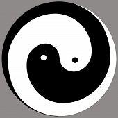 yin yang energy  chinese  illustration feng shui  balance zen silhouette taoism poster
