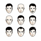 Set of men faces, human heads. Different vector characters like brunet, bald, with whiskers or bearded, handsome males. poster