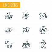 Happy icons line style set with hot coffee, scarf, lights garland paraffin elements. Isolated  illustration happy icons. poster