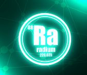 Radium chemical element. Sign with atomic number and atomic weight. Chemical element of periodic table. Molecule and communication background. Connected lines with dots. 3D rendering poster
