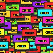 Colorful 80s analoge audio tape background repeatable pattern poster
