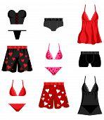 Vector illustration of 12 lingerie love valentines lingerie icons. poster