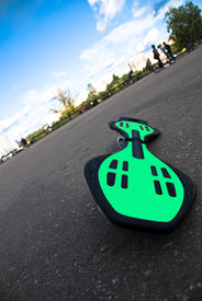 Waveboard on the ground