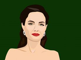 Apr, 2019: Vector Portrait Of Angelina Jolie - A Famous Actress And Philanthropist