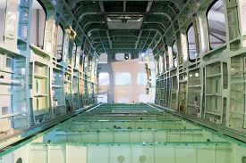 A Bare Empty Shell Fuselage Of A Airplane