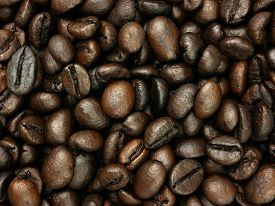 Roasted Coffee Beans Background, Top View, Copy Space