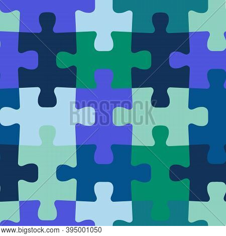 Seamless Vector Background Jigsaw Puzzle Pieces. Repeating Blue Green Teal Pattern For Fabric, Kids