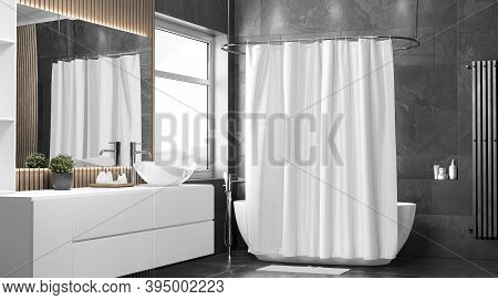Blank White Closed Shower Curtain Mockup, Half-turned View, 3d Rendering. Empty Liner Shade In Bathr