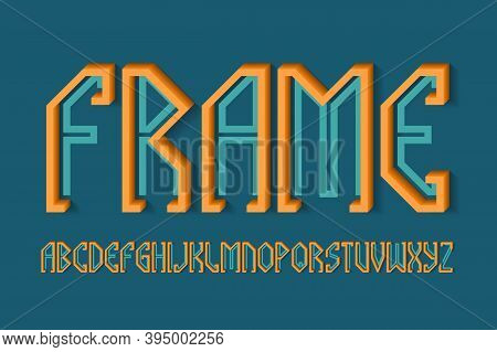Volumetric Frame Alphabet Of Orange Blue Letters Of Flat And Volumetric Parts. 3d Display Font. Isol