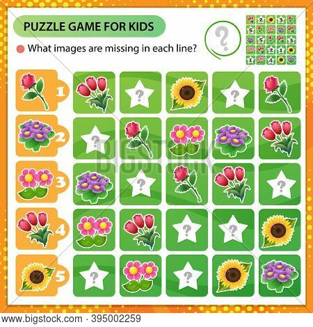 Sudoku Puzzle. What Images Are Missing In Each Line? Flowers. Roses, Tulips, Violets, Sunflower. Log