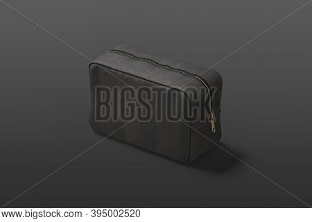 Blank Black Cosmetic Bag Mock Up, Dark Background, 3d Rendering. Empty Female Cosmetics Box With Zip