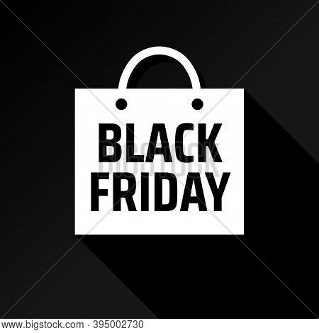 Minimalistic Advertising Concept With Black Friday Shopping Bag. White Bag With Shadow. Shopping Pro