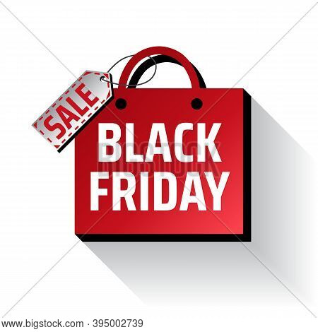 Advertising Concept With Black Friday Shopping Bag On White Background. Sale Label. Shopping Promoti