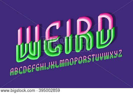 Volumetric Weird Alphabet Of Pink Green Letters Of Two Parts. 3d Display Oblique Font. Isolated Engl