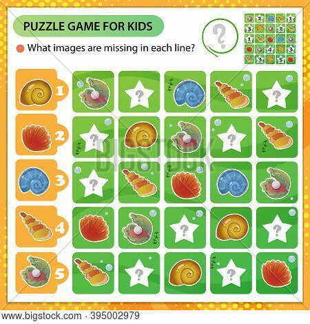 Sudoku Puzzle. What Images Are Missing In Each Line? Seashells And Shells. Logic Puzzle For Kids. Ed