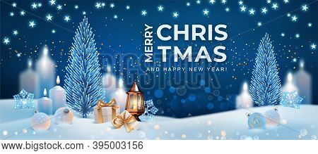 Happy New Year And Merry Christmas Banner. Realistic Design Of Christmas Night With Christmas Tree,