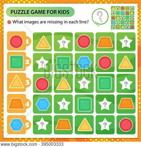 Sudoku Puzzle. What Images Are Missing In Each Line? Geometric Shapes. Logic Puzzle For Kids. Educat