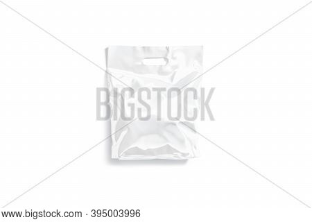 Blank White Die-cut Small Plastic Bag With Handle Hole Mockup, 3d Rendering. Empty Polythene Full Pa