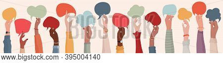 Group Raised Arms Of Diversity Multi-ethnic Multicultural People Holding Speech Bubble In Hand. Dive