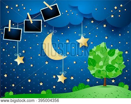 Surreal Night With Hanging Moon And Stars, Tree And Photo Frames. Vector Illustration Eps10