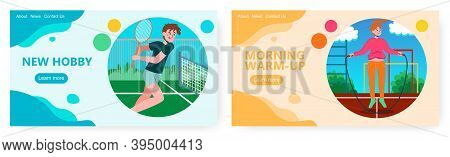 Tennis Player With Tennis Racquet On A Court. Sport And Fitness Vector Concept Illustration. Woman J