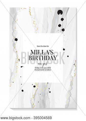 Elegant Wedding Invitation Silver Watercolor Vector Card. Custom Grey Abstract Background Holiday De