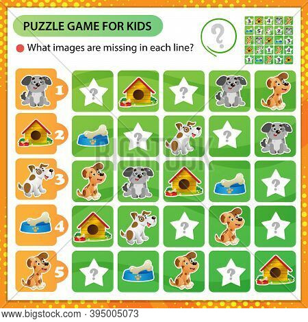 Sudoku Puzzle. What Images Are Missing In Each Line? Dogs. Logic Puzzle For Kids. Education Game For
