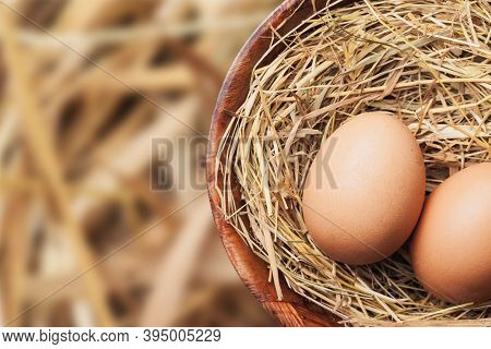 Chicken Eggs On Rustic Hay In Wooden Bowl Isolated. Empty Copy Space Healthy Farm Food Background. C