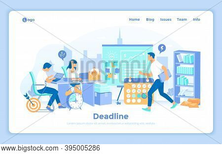Deadline Asap. Business Team Working In An Office Overtime. All In A Hurry To Complete The Tasks. St