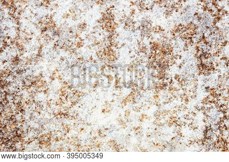 Rust Background. Metal Corrosion Texture. Grunge Steel Backdrop. Scratched Rusty Iron Sheet. White P