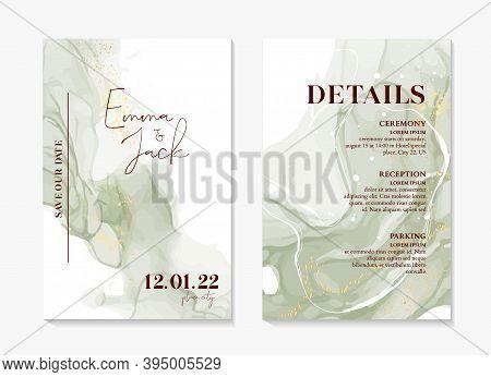 Wedding Invitation Sage Green Boho Rustic Style Modern Save The Date Template. Watercolor Liquid Flo