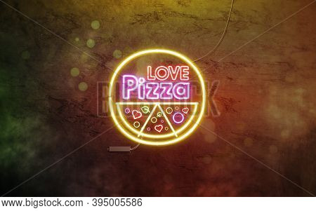 Neon Pizza Love Sign Dark Stone Wall With Smoke, Glow Font Mockup, 3d Rendering. Pizzeria Or Fastfoo