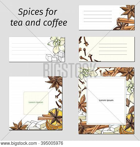 Set Of Card Template With Cinnamon, Anise, Vanilla And Cloves. Vector Illustration Of Tea And Coffee
