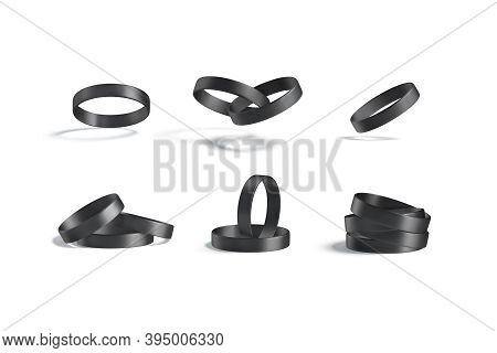 Blank Black Silicone Wristband Mock Up Set, Different Views, 3d Rendering. Empty Elastic Bangle Acce