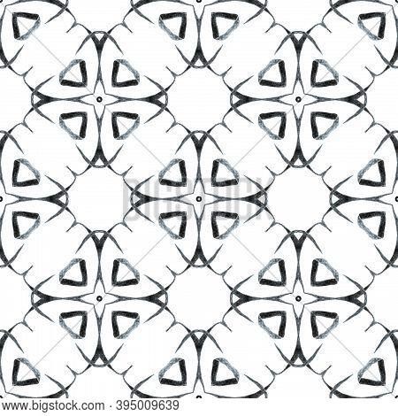 Watercolor Ikat Repeating Tile Border. Black And White Amazing Boho Chic Summer Design. Ikat Repeati