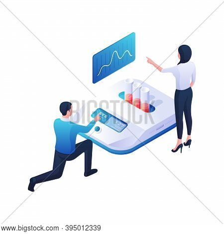 Scientists Analyze And Develop Vaccine Isometric Vector Illustration. Male And Female Characters Tes