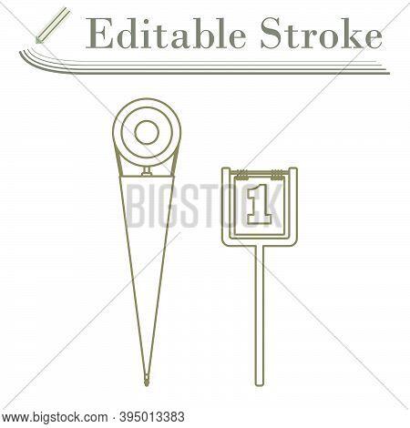 American Football Sideline Markers Icon. Editable Stroke Simple Design. Vector Illustration.