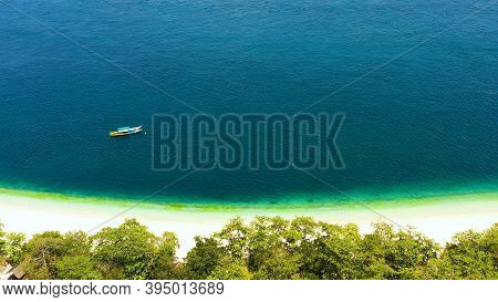 Aerial View Of Seascape With Beautiful Beach And Tropical Great Santa Cruz Island. Zamboanga, Mindan