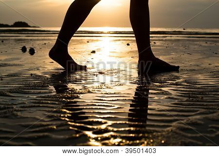 Feet of a young woman walking on the beach at sunset (backlit)