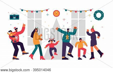 Children And Adults New Year Joint Party Illustration. Happy Male And Female Characters Dance With T