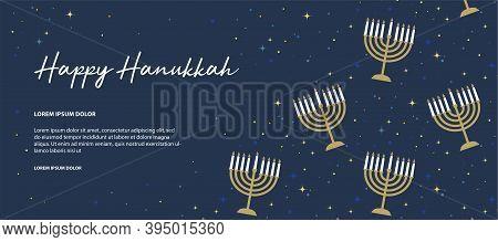 Happy Hanukkah Banner . Image Of Jewish Holiday Hanukkah Background With Golden Menorah Pattern, Tra