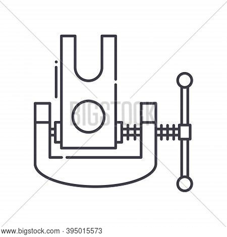 Clamp Icon, Linear Isolated Illustration, Thin Line Vector, Web Design Sign, Outline Concept Symbol
