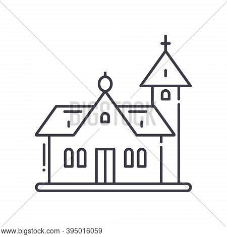 Chapel And Church Icon, Linear Isolated Illustration, Thin Line Vector, Web Design Sign, Outline Con