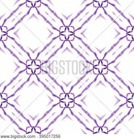 Ikat Repeating  Swimwear Design. Purple Resplendent Boho Chic Summer Design. Textile Ready Pretty Pr