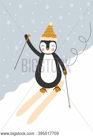 Penguin Skiing Down A Mountain With Snow In An Icy Winter Landscape On A Blue Background. Illustrati