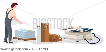 Man Working In Typography At Print To Printer. Employee Character, Electronic Photocopier Device, Pa