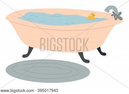Bathtub Full Of Water, Rubber Yellow Toy Duck, Bath In The Bathroom, Oval Gray Fleecy Rug On The Flo