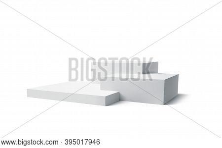 Background 3d White Podium Product Isolated On The White Background. Modern White Cube Podium, Great