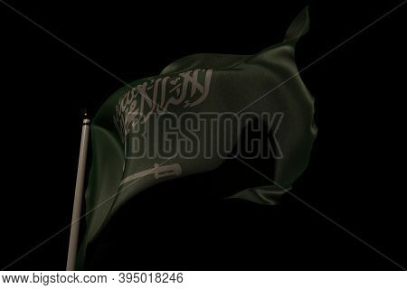 Flag Of Saudi Arabia On Pole Waving In The Wind. 3d Rendering.